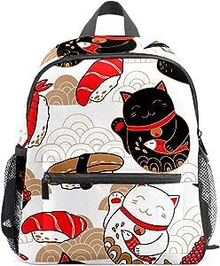 Lucky Cat Neko Mini Backpack for Kids Japanese Sushi Food Backpacks Cute Small Toddler Backpack for Children Girls Boys Teens School Women Purse