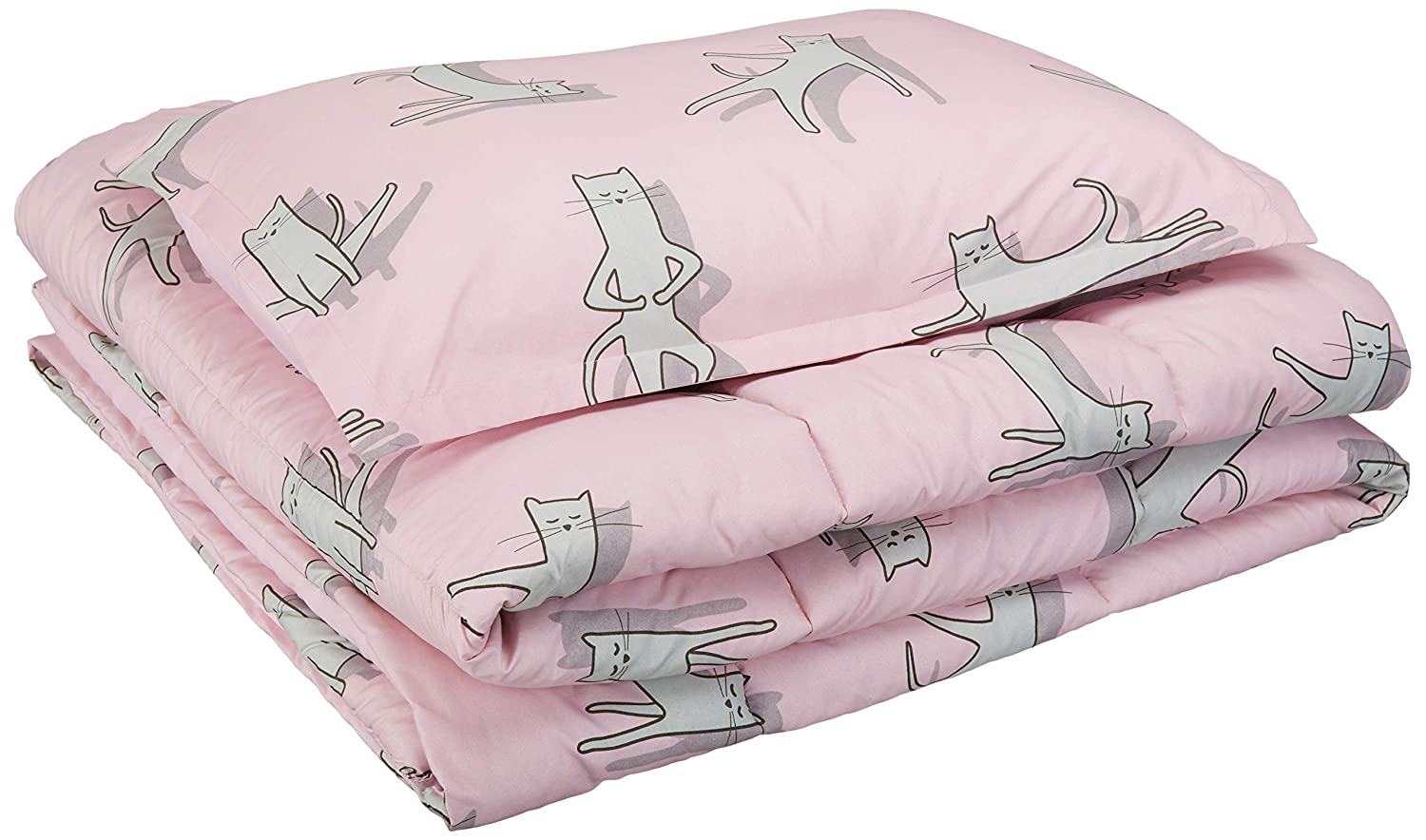 AmazonBasics Easy-Wash Microfiber Kid's Comforter and Pillow Sham Set - Twin, Pink Cats