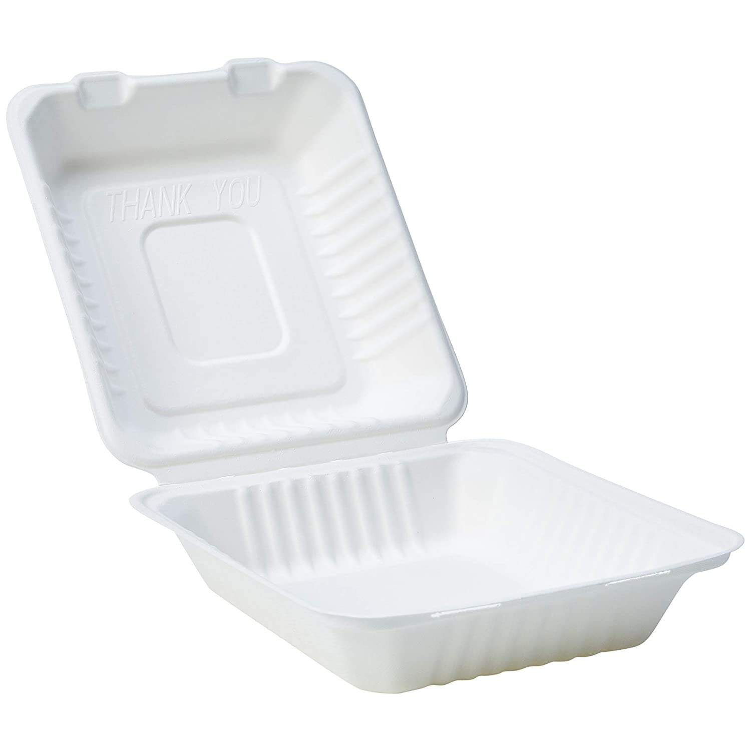AmazonBasics Compostable Clamshell Hinged Food Container, 8