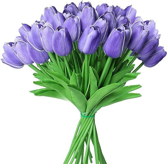 a 1cm*25cm*10cm TOWAKM Lot de 20 tulipes artificielles en latex v/éritable bouquet de mari/ée pour d/écoration dint/érieur