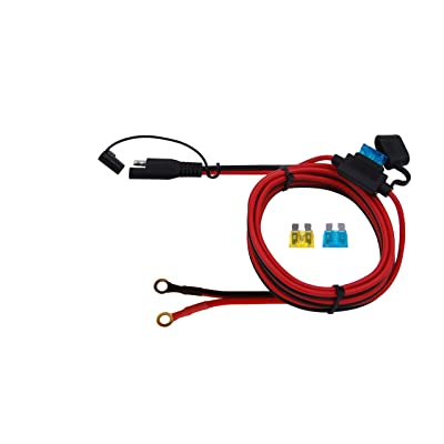 CUZEC 6FT/1.8m 16AWG Ring Terminal to SAE Harness Quick Connect/Disconnect Assembly, 15A Fuse (CU10300B): Automotive