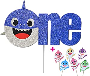 "OMG Party Factory - Baby Cute Shark Cake Topper 1st Birthday ""ONE"" For Boy - Baby Shower Decoration With Cupcake Toppers (Blue)"