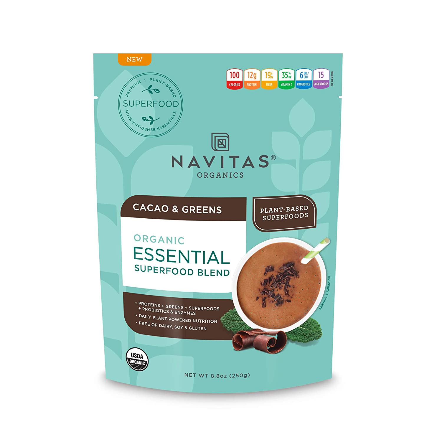 Navitas Organics Essential Superfood Protein Blend, Cacao & Greens, 8.8oz. Bag — Organic, Non-GMO, Gluten-Free, Plant-Based Protein