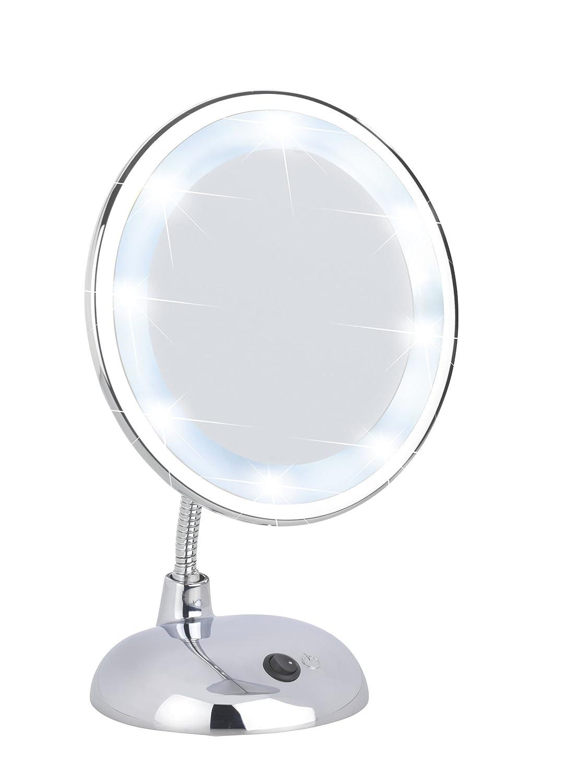 Wenko 3656440100 LED Specchio per cosmesi Style chrome - illuminato, orientabile, Materiale plastico, 17.5 x 28 x 12 cm, Cromo