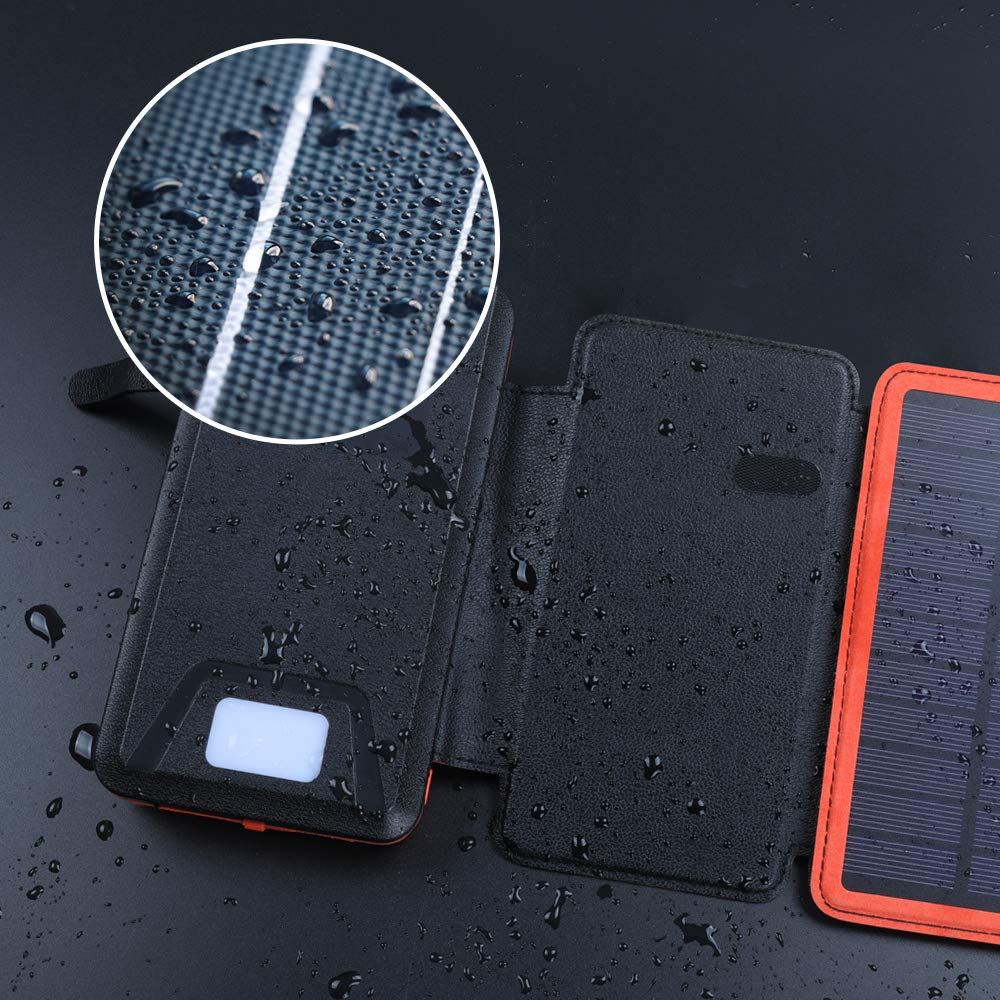 soyond Solar Qi Power Bank Solar Wireless Phone Charger Protable Qi Battery Pack 20000mAh Waterproof with Dual Ports for iPhone, Andriod Phone, iPad(Orange Wireless Charger) by soyond (Image #3)