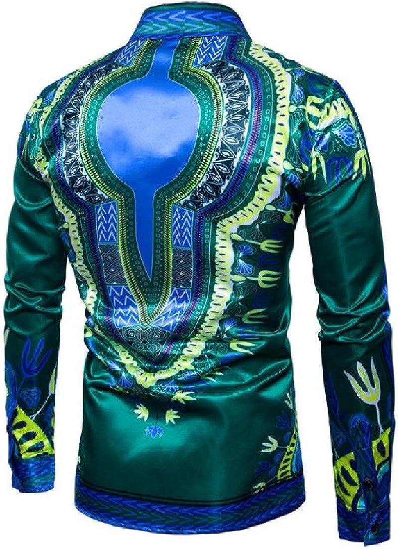 CuteRose Men Trendy African Dashiki Multicolor Button Down Long Shirt