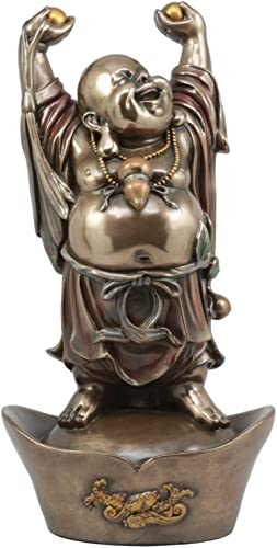 HAPPY CHINESE ZEN MONK BUDDHA ON NUGGET STATUE HAPPINESS LUCK AND JOY FIGURINE