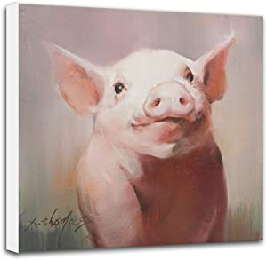 Baby Farm Animal Nursery Decor, 12x12 inch 'Pig #3' Original Painting Canvas Print, Wall Art for Kids Room Bedroom - Gallery Wrapped Stretched