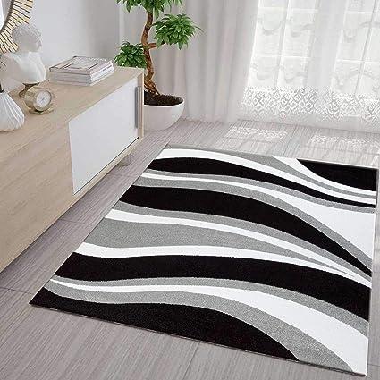 VIMODA Salon Tapis Vagues Design Poils Ras Gris Noir et Blanc, Très Facile  - Gris, 120 x 170 cm