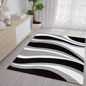 Vimoda Tapis Moderne Vagues Design à Poils Ras Gris Noir Et Blanc