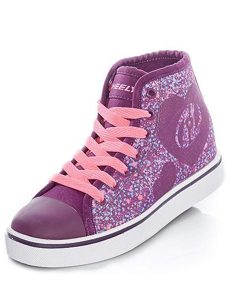 Zapatillas Altas con una Rueda para niña Heelys Veloz Morado-Rosado-Heart: Amazon.es: Zapatos y complementos