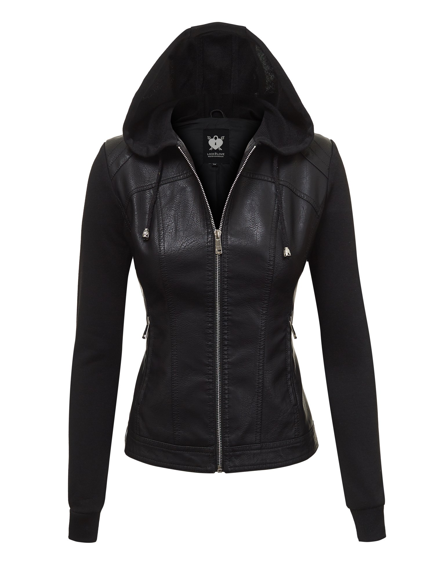 WJC1347 Womens Faux Leather Zip Up Moto Biker Jacket With Hoodie L Black_Black