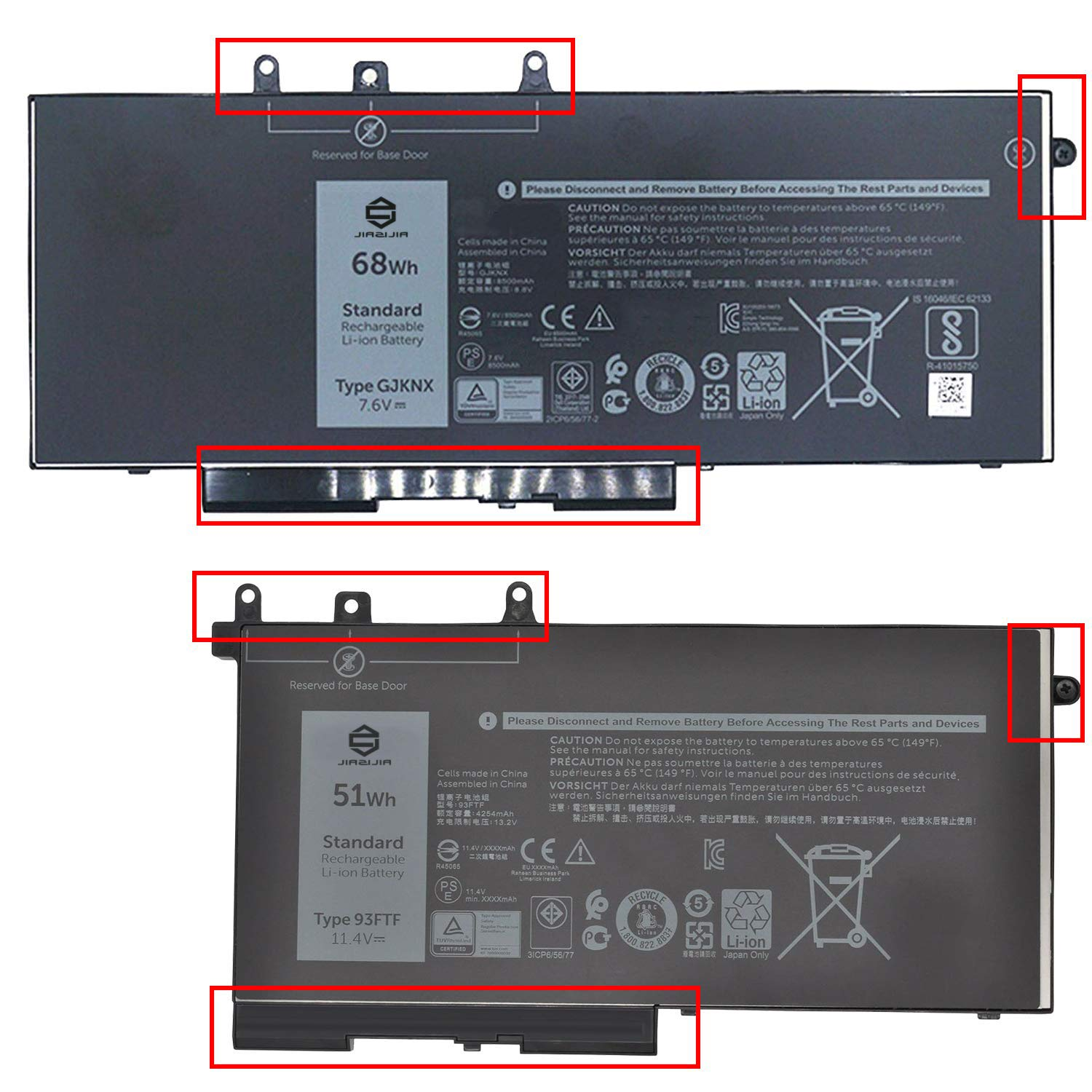 JIAZIJIA GJKNX Laptop Battery Replacement for Dell Latitude 14 5480 E5480 15 5580 E5580 14 5490 E5490 15 5590 E5590 Precision 3520 3530 Series 93FTF 3DDDG GD1JP DY9NT 5YHR4 7.6V 68Wh 8500mAh by JIAZIJIA (Image #4)