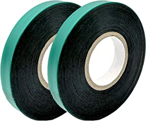 Medoore 2 Rolls 150 Feet Stretch Tie Tape 0.5 Inch Garden Tie Tape Thick Plant Ribbon Garden Green Vinyl Stake for Indoor Outdoor Patio Plant Use