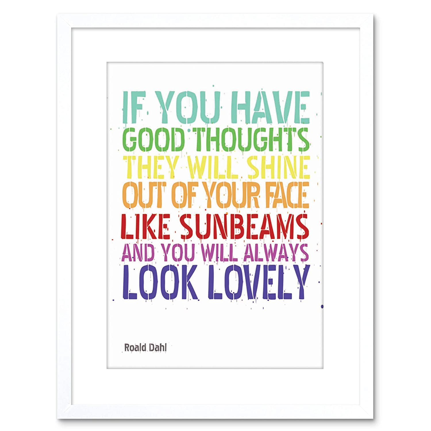 Wee Blue Coo Quote Typography Good Thoughts Roald Dahl Framed Wall