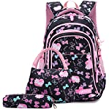 3PCS School Backpack for Girls, Kids Bookbags Set Primary Girls Students (Daypack + Lunch Bag + Pencil Case) (Black)