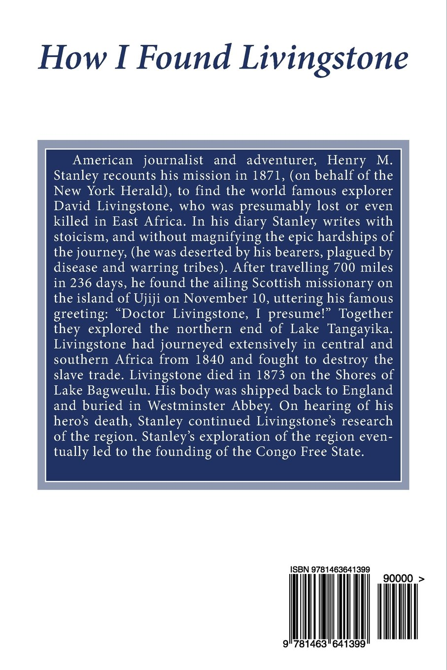How I Found Livingstone: Henry M. Stanley: 9781463641399: Amazon.com: Books  Dr Livingstone I Presume Accessories