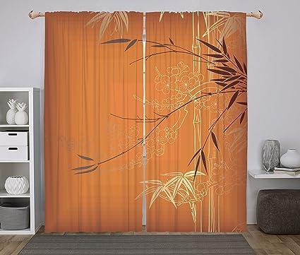 Amazon.com: Polyester Window Drapes Kitchen Curtains,Bamboo,Bamboo ...