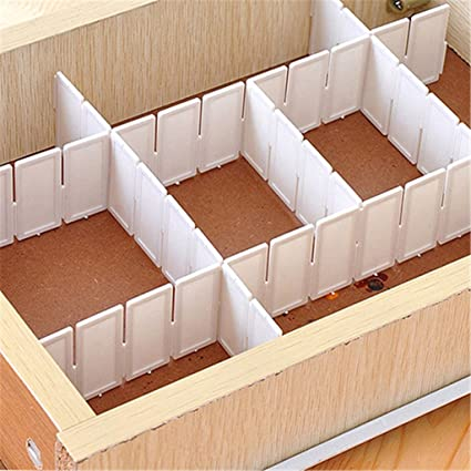 Potato001 6 Pcs Plastic Diy Grid Drawer Divider Panel Household Storage Organizer Partition