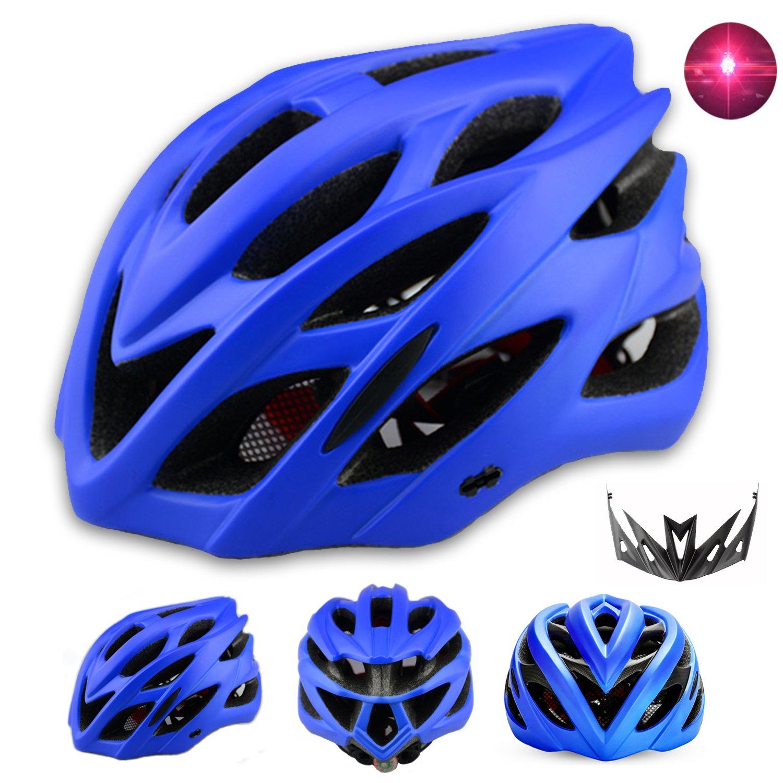 Damen Herren Fahrradhelm mit integriertes LED Rücklicht und Sonnenblende Matt Specialized Rennradhelm mit Insektenschutz