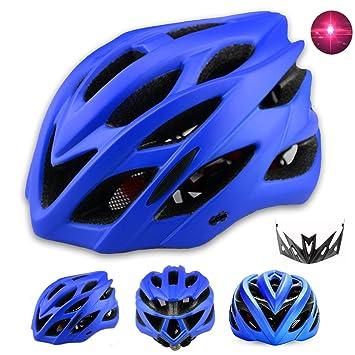 Adulto Hombre Mujer Casco Bicicleta con Luz LED Trasera Soft Cascos Ciclismo con Desmontable Visera Casco