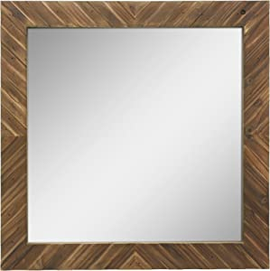 Stonebriar Square Textured Wooden Chevron Hanging Wall Mirror with Attached Mounting Brackets, Rustic Decor Accents for the Bathroom, Living Room, Bedroom, Office, and Hallway