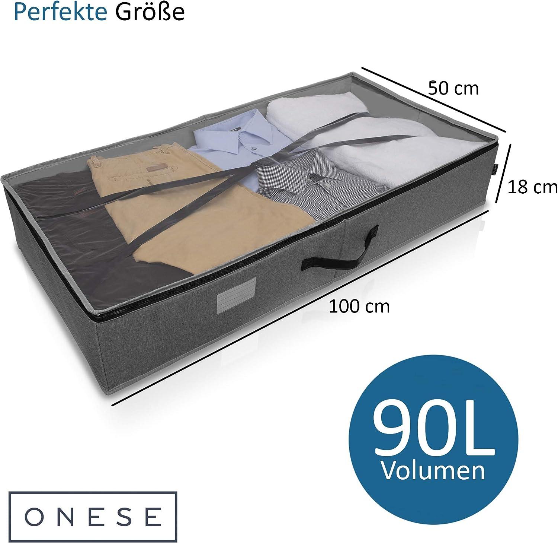 ONESE EINF/ÜHRUNGSANGEBOT Premium Unterbett Aufbewahrungstasche selbststehend Unterbettkommode Aufbewahrungsbox Kleidung Bettw/äsche Haltegurt