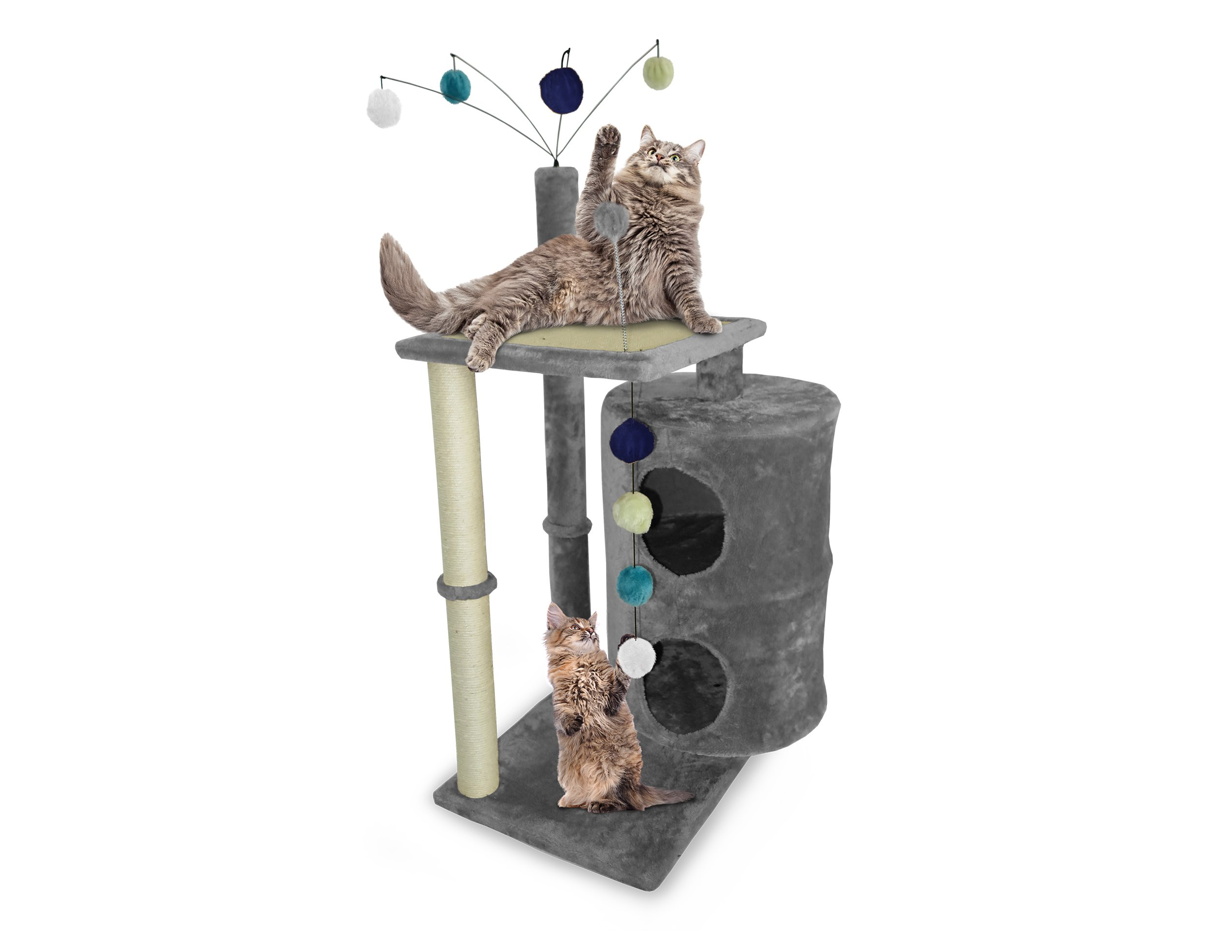 Furhaven Pet Cat Tree | Tiger Tough Cat Tree House Furniture for Cats & Kittens, Cat Table Playground, Gray