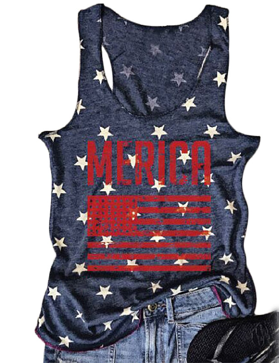 FAYALEQ Women Tank Tops American Flag Print Sleeveless T-Shirts Tees Casual Vest Blouse Size Medium (Navy Blue)