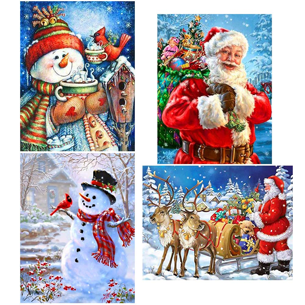 Augshy 4 Pack 5D DIY Diamond Painting Kits Chrismas Full Drill Rhinestone Embroidery Cross Stitch Painting for Christmas Home Decor by Augshy