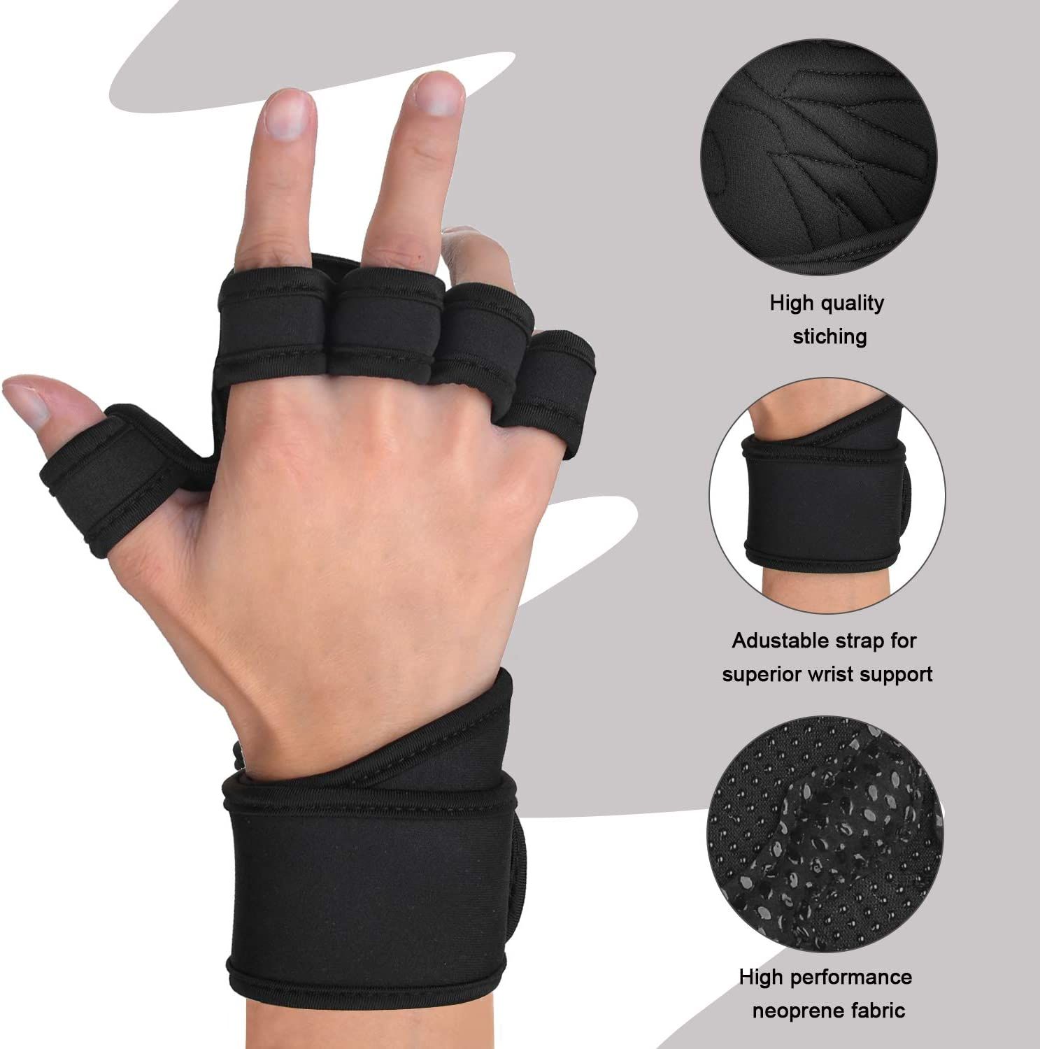 Fitness,Training S Eamber Full Palm Open Ventilated Workout Gloves with Adjustable Stable Wrist Wraps Thick Palm Padding No Calluses and Injuried Perfect for Weight Lifting,Pull Ups