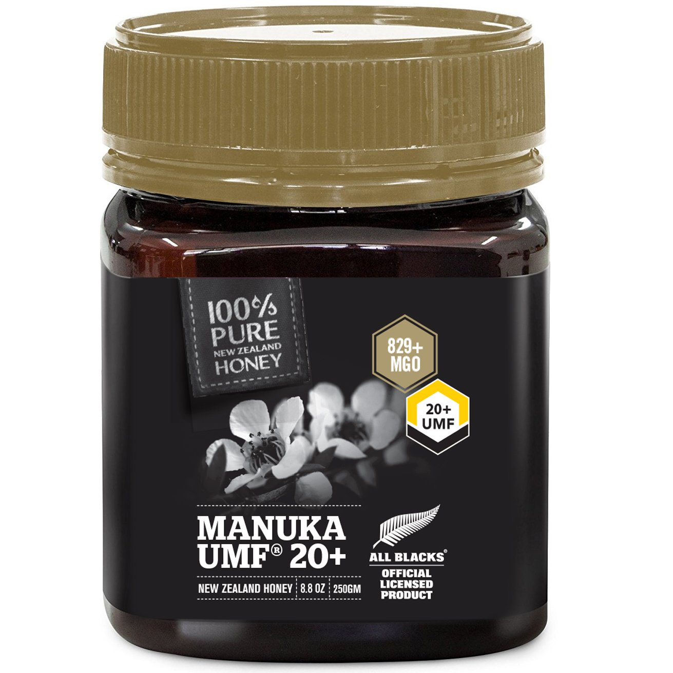 Pure New Zealand Manuka Honey - UMF 20+ Certified - 8.8 oz- All Blacks Official Licensed Honey