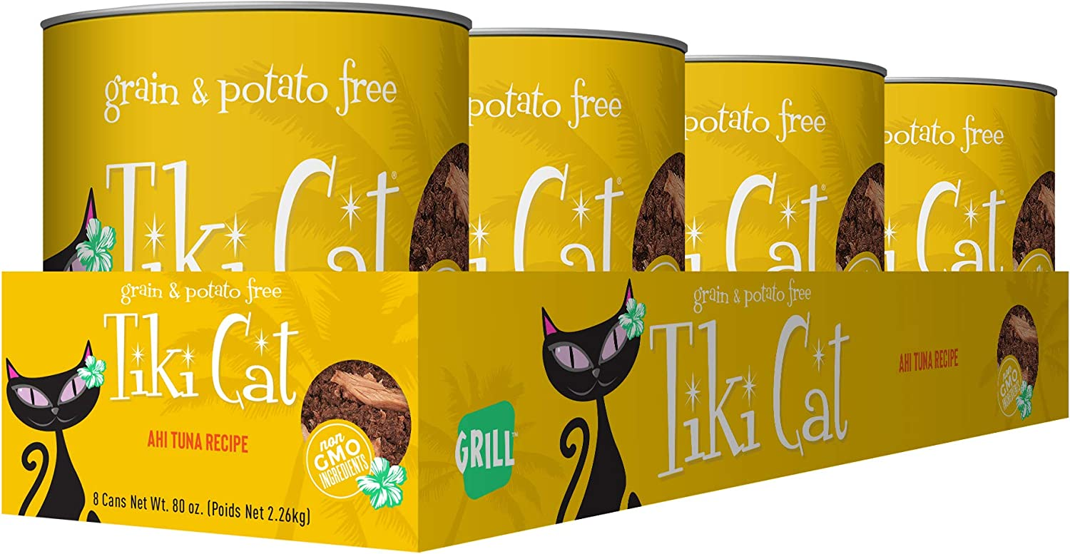 Tiki Pets Grill Grain Free Canned Wet Food with Whole Seafood in Broth for Cats and Kittens, Ahi Tuna 4 cans 10oz