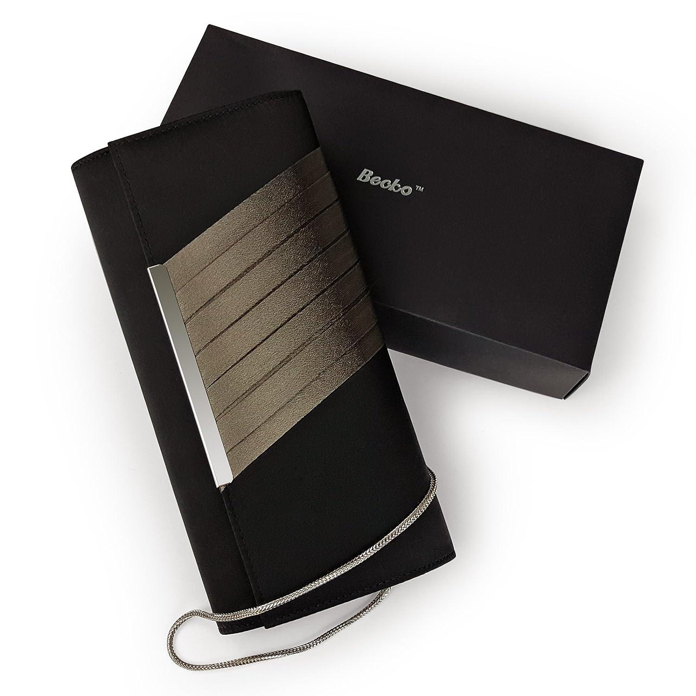 349339f63d9 Becko Satin & Matte Wallet and Purse Long Clutch Bag Handbag Card Holder  (Black): Amazon.co.uk: Clothing