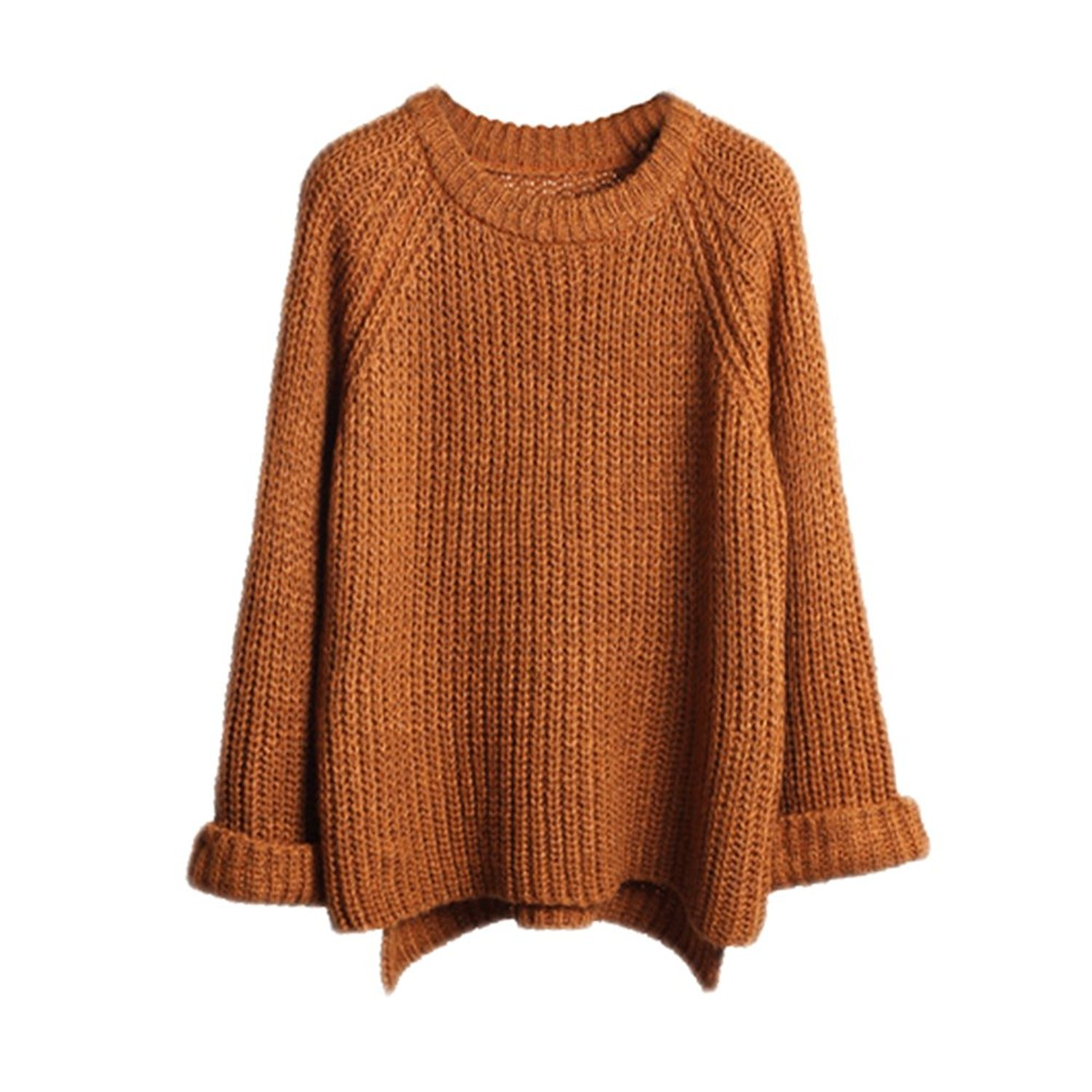Chuanqi Women Oversized Knitted Sweater Long Sleeve V-Neck Loose ...