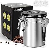 HOKEKI Stainless Steel Airtight Coffee Canister 16 oz