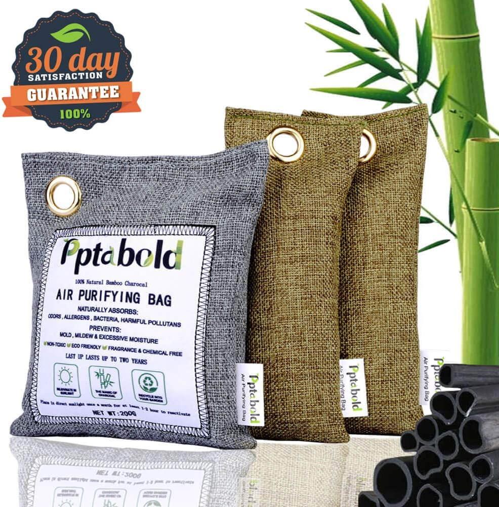 Ambientador Natural y Purificación de Aire 3 Pack,Bambú Activado Carbón Desodorante Bolsa Deshumidificador,Neutralizador de Olores,Desodorante para Eliminar los Olores del Automóvil,Armarios,Zapatos