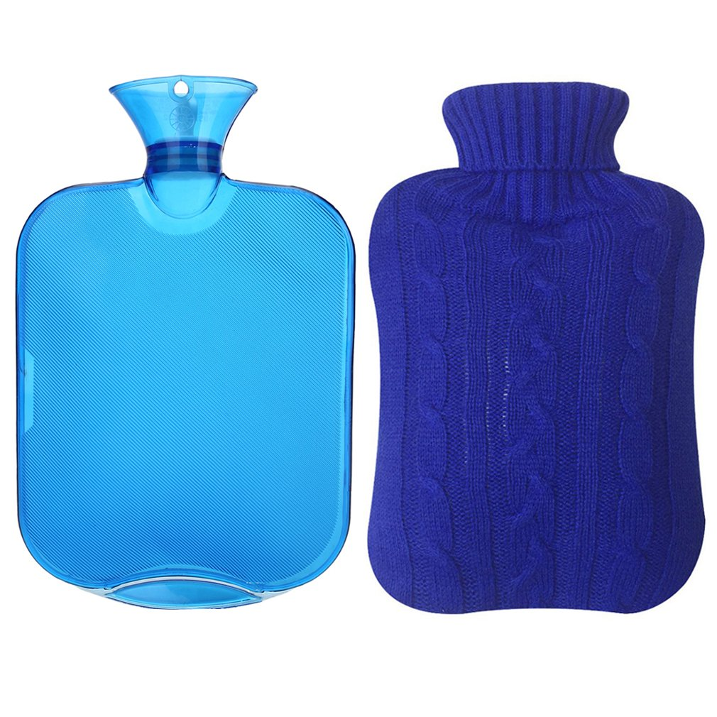 Cosprof Classic Hot Water Bottle With Warm Knit Cover - Winter Essential Gifts (Deep Blue)