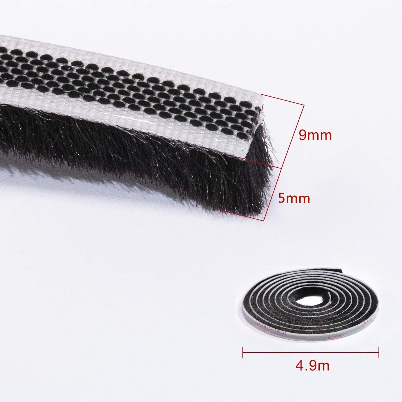 l Joint brosse autocollant 4,9M H x 5mm x 9mm L brosse d/étanch/éit/é Bouchon de porte en feutre haute densit/é excentrique pour portes coulissantes Noir fen/êtres et armoires
