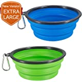 COMSUN 2-Pack Extra Large Size Collapsible Dog Bowl, Food Grade Silicone BPA Free, Foldable Expandable Cup Dish Pet Cat Food Water Feeding Portable Travel Bowl Blue Green Free Carabiner