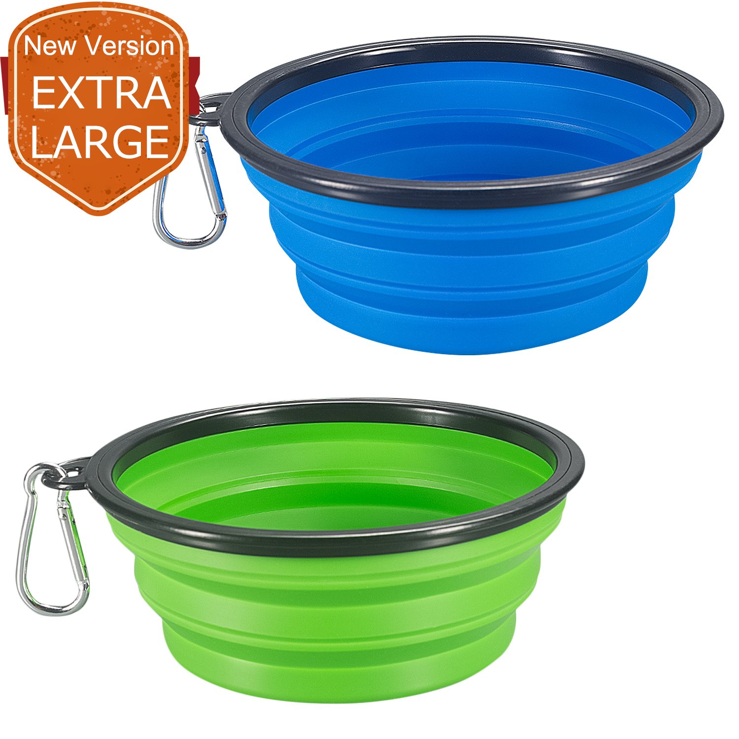 COMSUN 2-Pack Extra Large Size Collapsible Dog Bowl, Food Grade Silicone BPA Free, Foldable Expandable Cup Dish for Pet Cat Food Water Feeding Portable Travel Bowl Blue and Green Free Carabiner FBA_TP111R