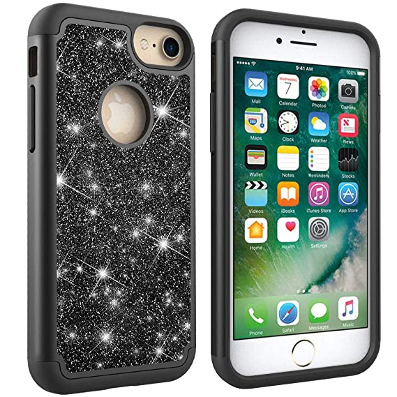 3556ffd123b442 NVWA Compatible Apple iPhone 8 7 6 6S Case Glitter Powder Bling  Heavy  Duty  Tough Dual Layer 2 in 1 Rugged Rubber Silicone Hybrid Hard Plastic  Soft TPU ...