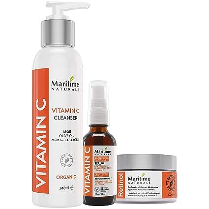 Marítimo Naturals - crema hidratante retinol antienvejecimiento con ácido hialurónico, 20% de vitamina C