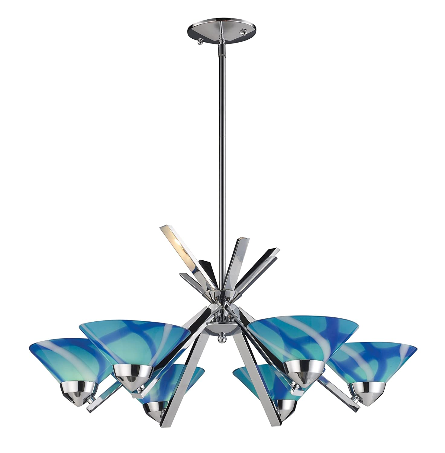 Elk 14756car 6 light chandelier in polished chrome and caribbean elk 14756car 6 light chandelier in polished chrome and caribbean glass amazon arubaitofo Images