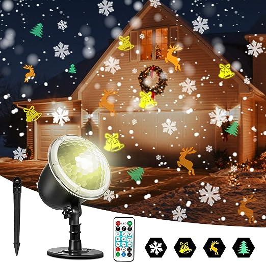 Zeonetak Luces LED de Proyector Exterior de Navidad Interior y ...
