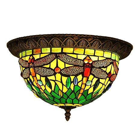 Makenier - Lámpara de techo Tiffany con cristales tintados ...