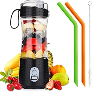 Aitsite Portable Blender, Personal Mixer Fruit Rechargeable USB with 2 Straws, Mini Blender for Smoothie, Fruit Juice, Milk Shakes 380ml, Six 3D Blades for Great Mixing (Black)