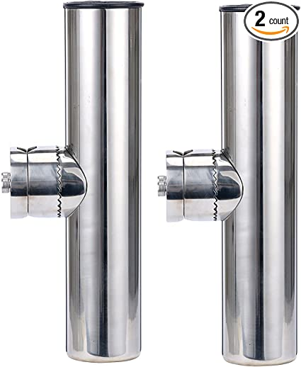 "4X Stainless Tournament Style Clamp on Fishing Rod Holder for Rails1-1//4/"" to 2/"""
