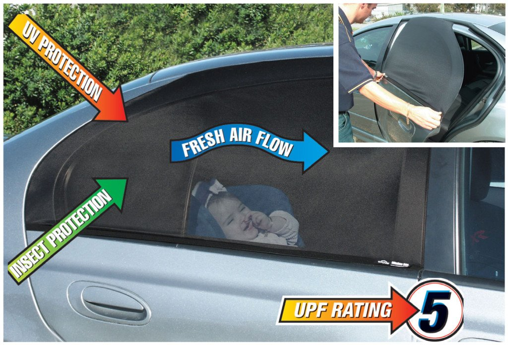 Car Window SunShade (2 pack) Shield Your Baby from Sun, Glare, UV & Heat - Sox or Static Screen for Rear Passenger Protection (Black) Bright Outdoors Fun Shade Black 2 pack