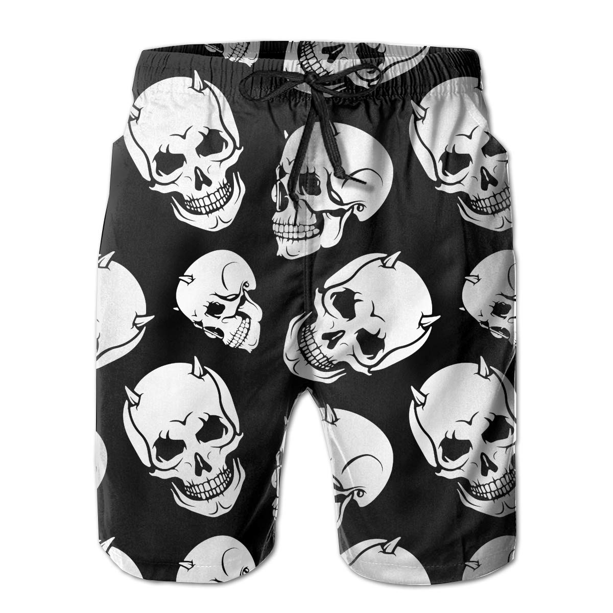 JF-X Skull Skeleon Bone Mens Beach Surf Shorts Board Shorts Swimming Trunks